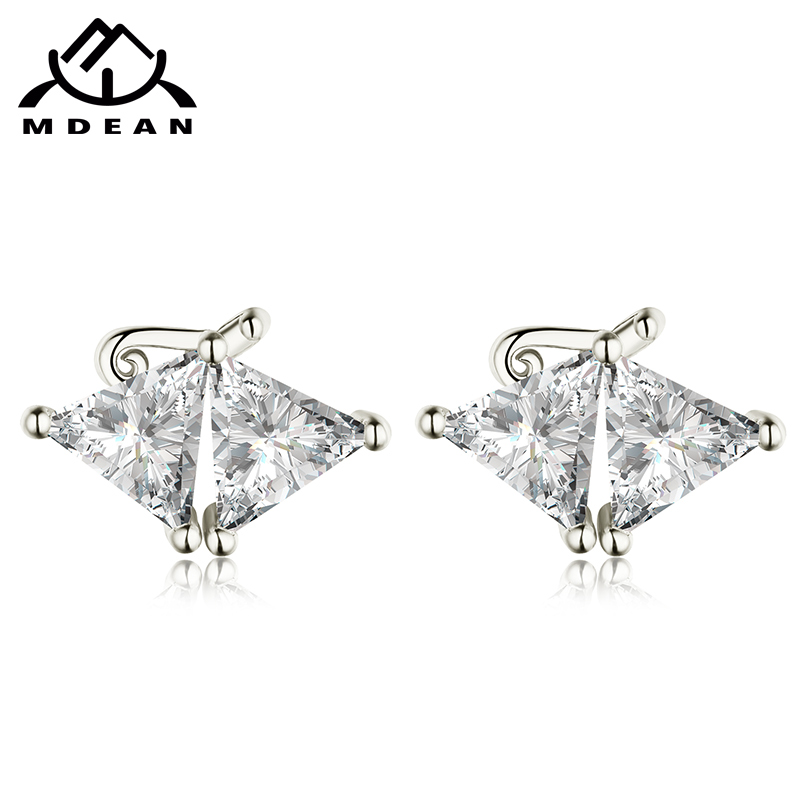 MDEAN White Gold Color AAA Zircon Special Design Geometric