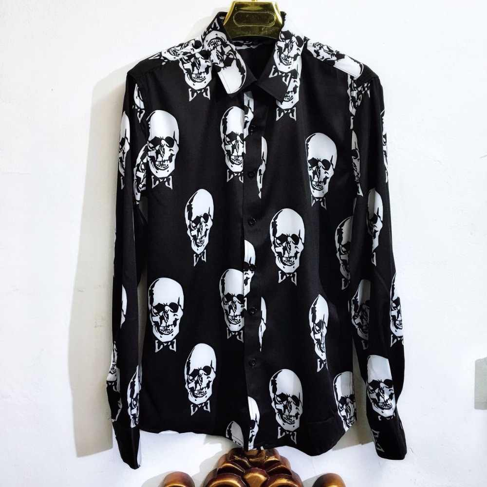 M-XXL! Men's fashion !  2018  Skull-and-skull 3d printed, unironed, slim fit club men and women's hair stylists shirts