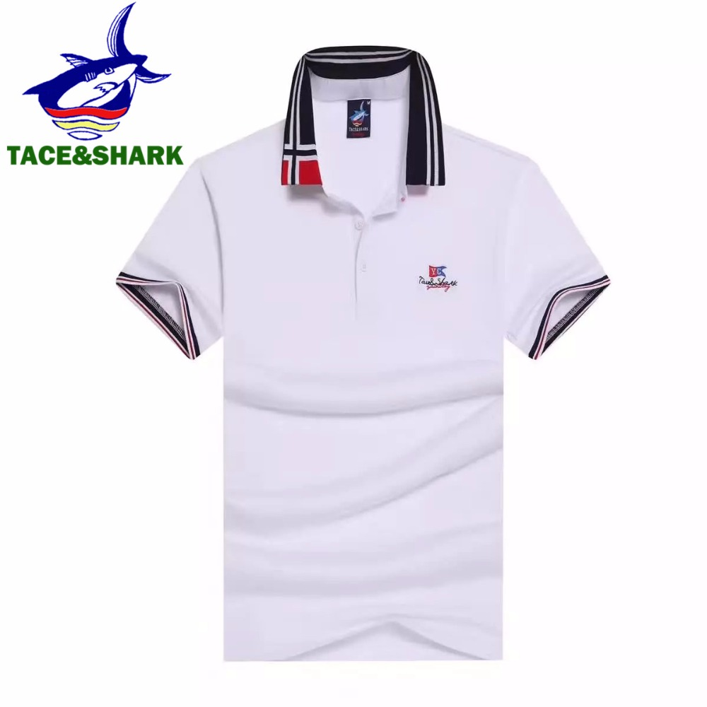 2017 Verão de algodão casuais camisa polos camisa homem de negócios nova  moda Tace   Shark camisa marca polo dos homens 33d64e524cb25