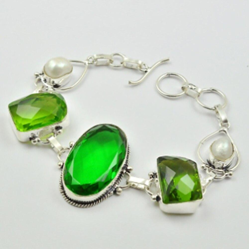 Green Quarts Peridots Bracelet 20 5 cm B2889 in Chain Link Bracelets from Jewelry Accessories