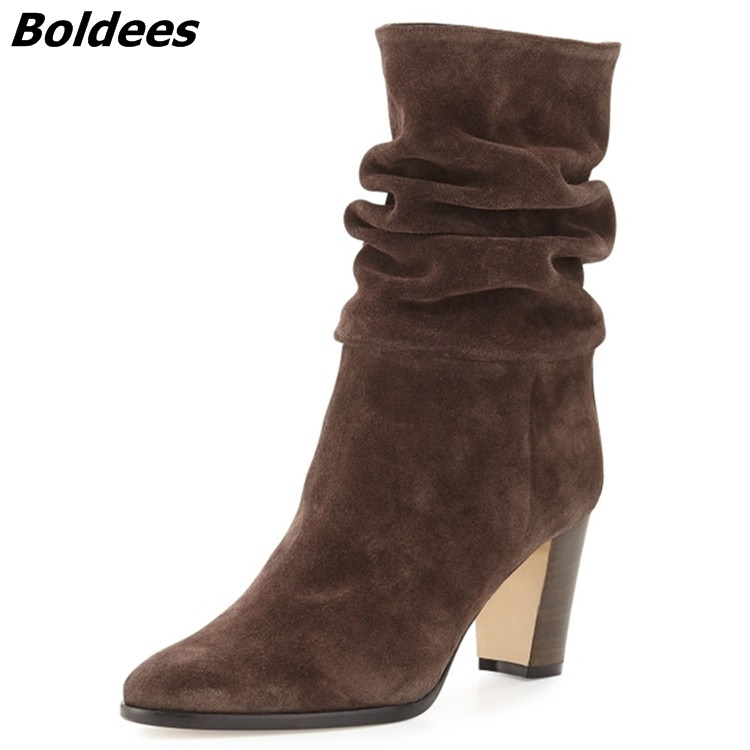 Women Elegant Velvet Boots Concise Style Pointed Toe Chunky Heel Mid-Calf Boots Hot Selling Celebrities in Same Women Boots double buckle cross straps mid calf boots