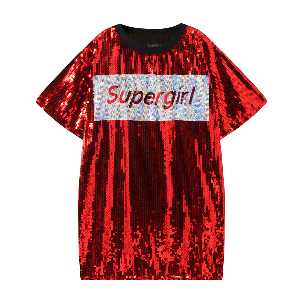 Spring and summer 2019 new youth women's fashion sequined embroidery silver red color t shirt women