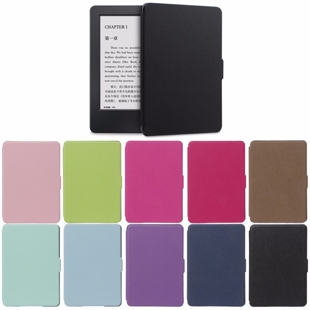Fashion Ultra Slim Protective Shell Case Cover For 6 Amazon Kindle Paperwhite 1/2/3 Faux Leather e-Books Skin Case 10-Color C26 xx fashion pu leather cute case for amazon kindle paperwhite 1 2 3 6 e books case stand style protect flip cover