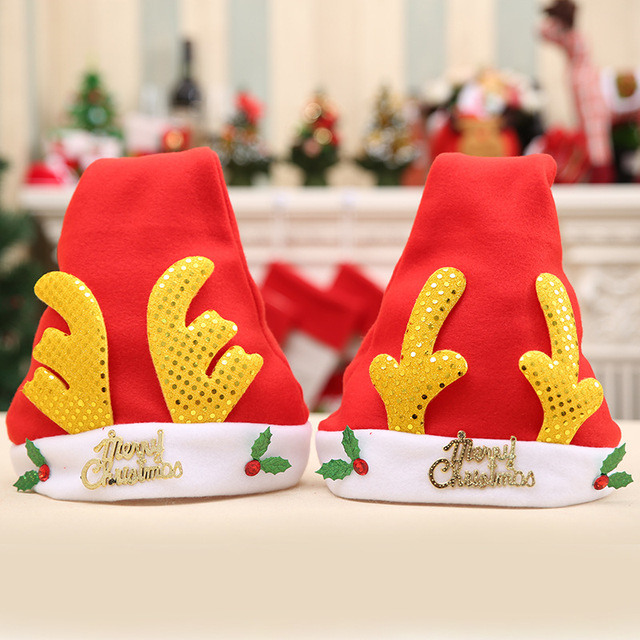 de91563c0cbac Santa Claus Antlers Hat Child Adult Christmas Decorations Classic Christmas  Hat Holiday Party Supplies Santa Claus Accessories