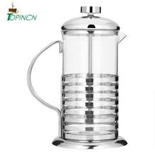 600/800 Ml Portable Stainless Steel Glass Bahasa Perancis Menekan Cangkir Kopi Pot Plunger Pembuat Teh Cafetiere Filter(China)