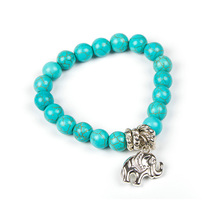 DILILI 2017 new fashion womens clothing accessories Fashion bohemia style turquoise stone alloy elephant bracelet xsb497