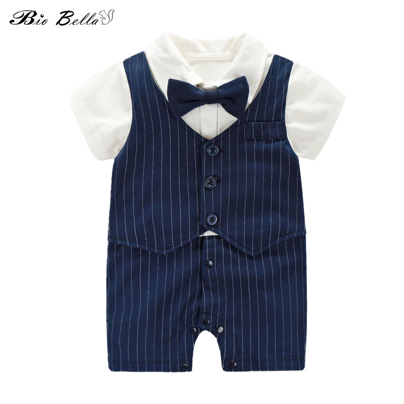 New Baby Rompers Newborn Infant Baby Boy Summer Short Sleeve One-piece Formal Striped Jumpsuit Bow Decor Gentle Boys Clothing