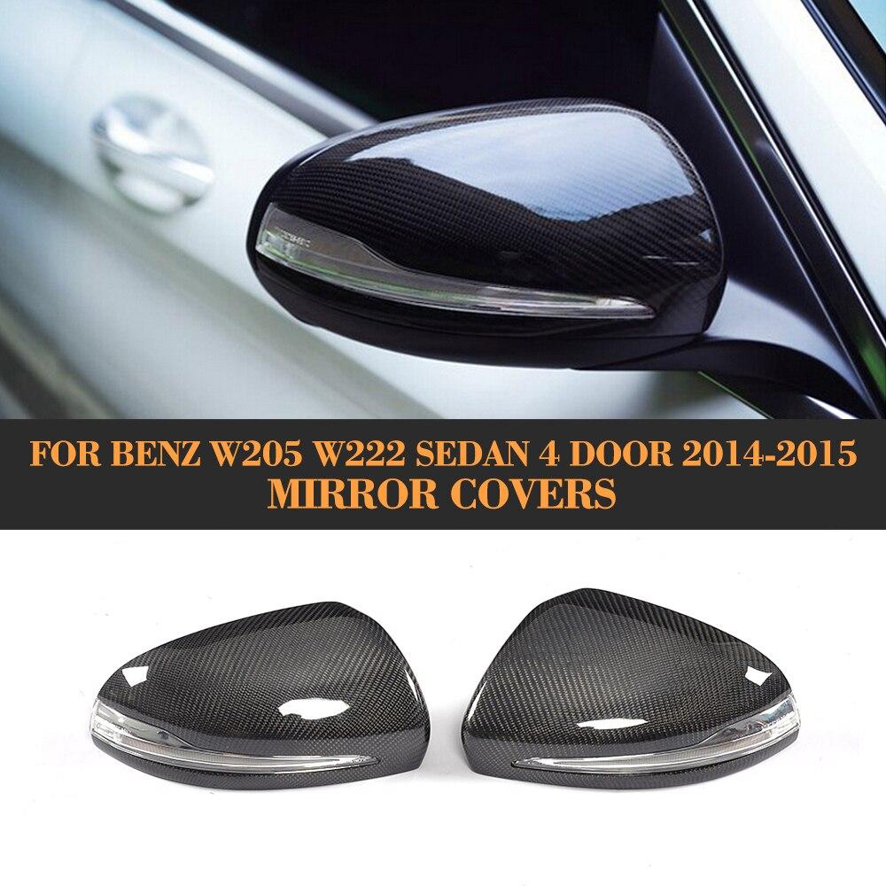 Pour W205 couverture de miroir latéral en Fiber de carbone pour Mercedes Benz W205 W222 C300 S500 berline 4 portes LHD 2014 2015 capuchon arrière remplacer