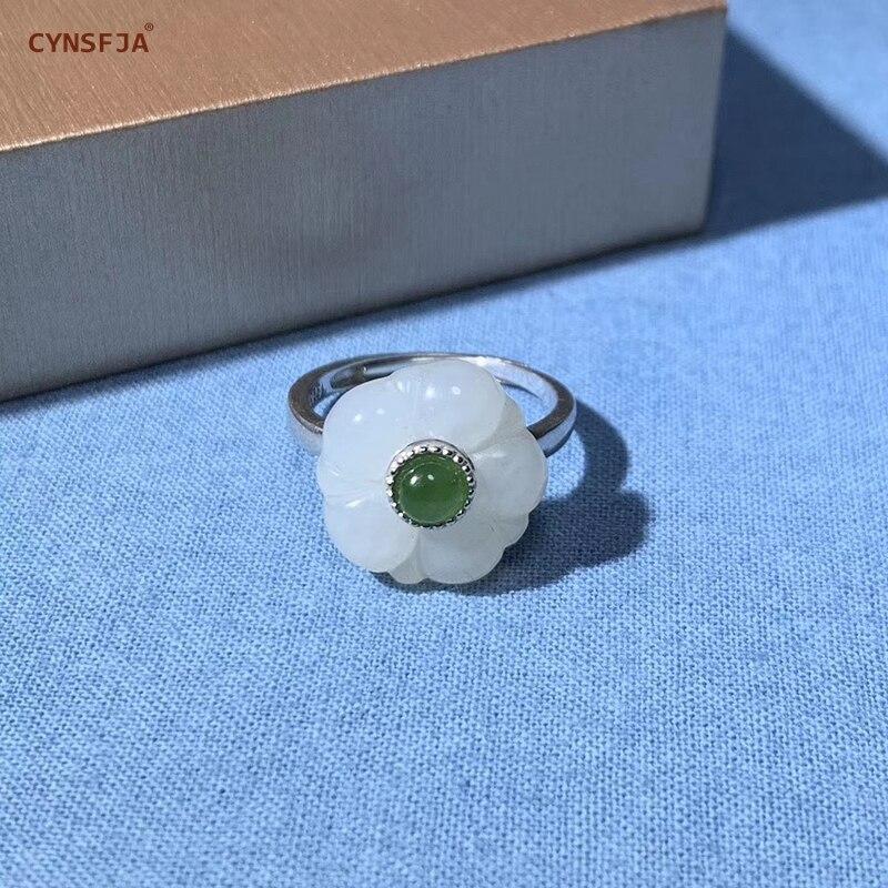 CYNSFJA véritable certifié naturel Hetian Jade incrusté 925 argent Sterling charmes femmes Jade anneaux sculpté de haute qualité réglable
