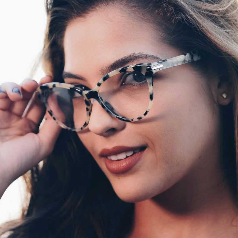 002e78bfd60 QPeClou New Brand Cat Eye Glasses Women Fashion Big Eyeglasses Frame Female  2018 Clear Lens Glasses