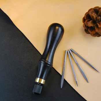 หนังหัตถกรรม DIY ไม้เพชร Awl หนัง craft Reaming Punch เครื่องมือตัดเย็บชุด 4 ใบ