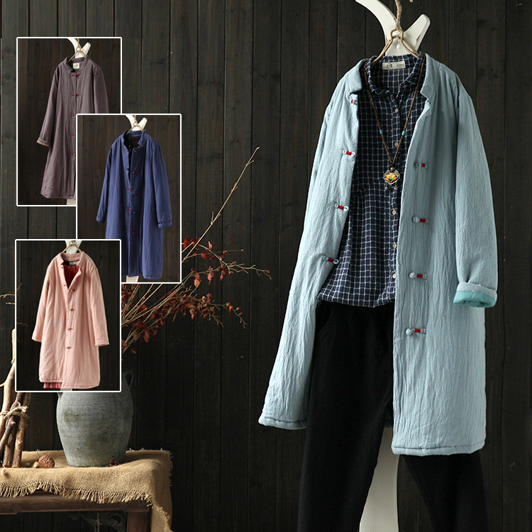 ФОТО 2017 new mori girl Elegant natural vintage plate buttons wadded jacket female thickening outerwear trench cotton-padded jacket