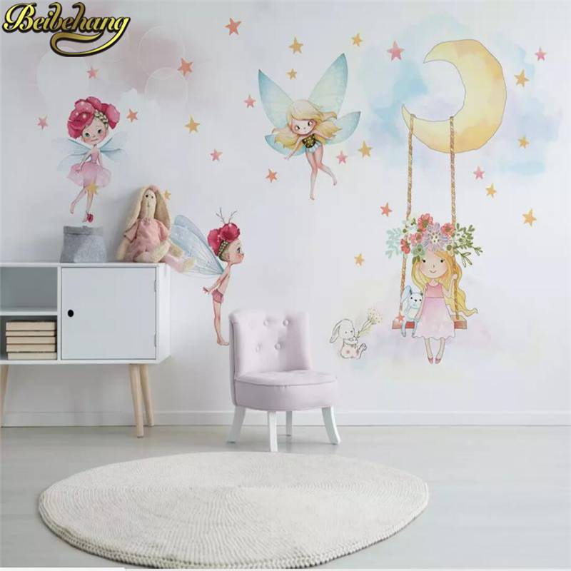 Beibehang Custom 3D Photo Mural Wallpaper Mural Living Room Home Decor Nordic Elf Girl Painting Wall Paper For Children's Room