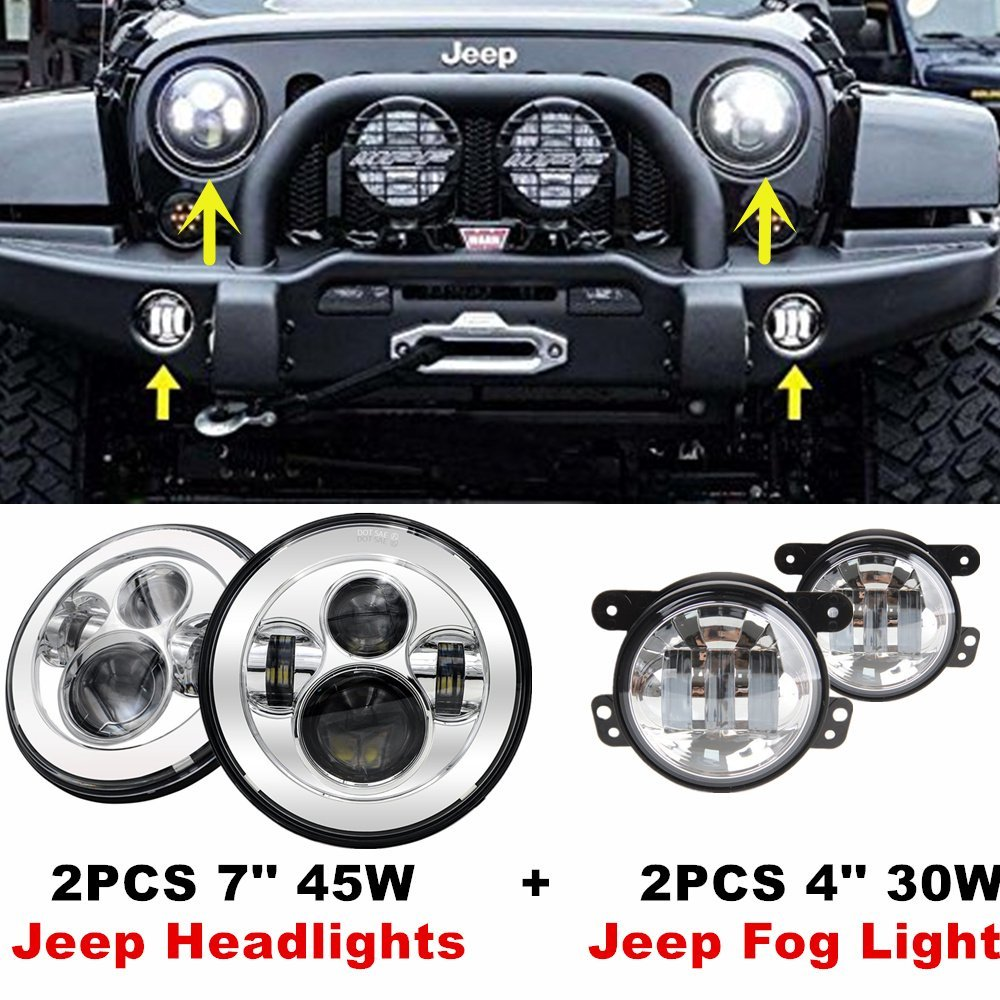 7inch LED Hi/Lo Offroad Headlights For 97-17 Jeep Wrangler TJ JK & Wrangler Unlimited + Matching Wrangeler 4 inch Led Fog Lights auxmart 22 led light bar 3 row 324w for jeep wrangler jk unlimited jku 07 17 straight 5d 400w led light bar mount brackets