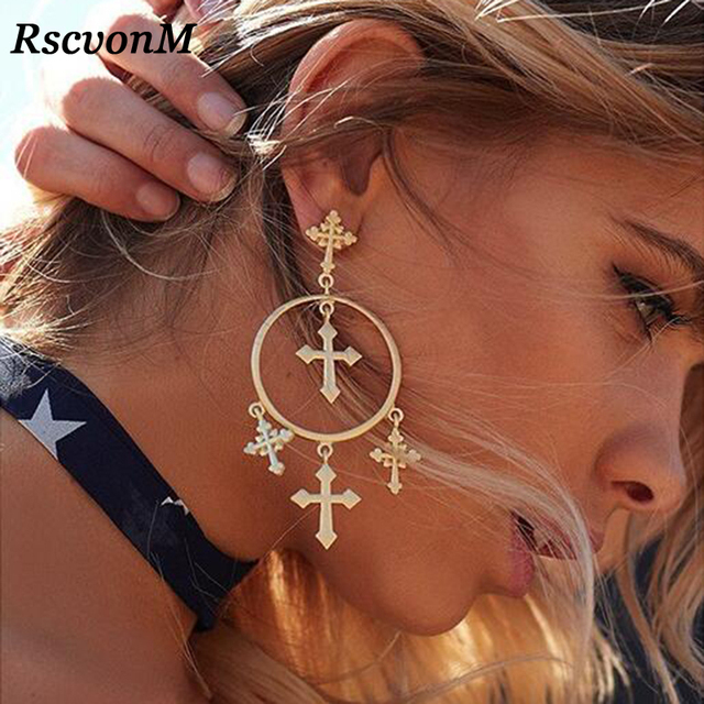 RscvonM New Fashion Multiple Cross Dangle Earrings Jewelry Vintage Gold  Color Cross Chandelier Earrings for Women 83d01f60f35c