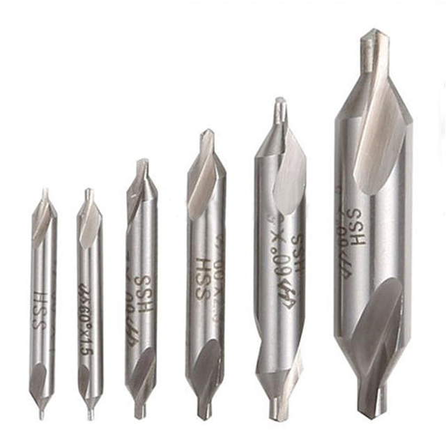 Combined Countersinks Drill Bit Kit 60 Degree 5/3/2.5/2/1.5/1mm6pcs/set Electrical HSS Center Drill Bits Set