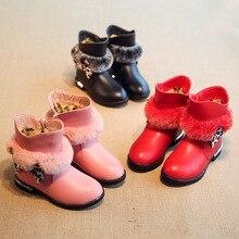 Новая зимняя детская обувь для девочек зимние сапоги для девочек зимние Ботинки утепленные плисовые туфли slipproof водонепроницаемая обувь 948
