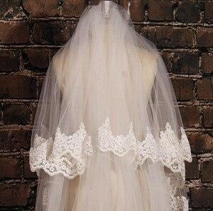 Image 3 - Màu trắng Ngà Dài 5M Ren Thêu Táo Đầm Dự Tiệc Phối Ren Voan Dài Cô Dâu Vân Cưới Phụ Kiện Với Lược EE02
