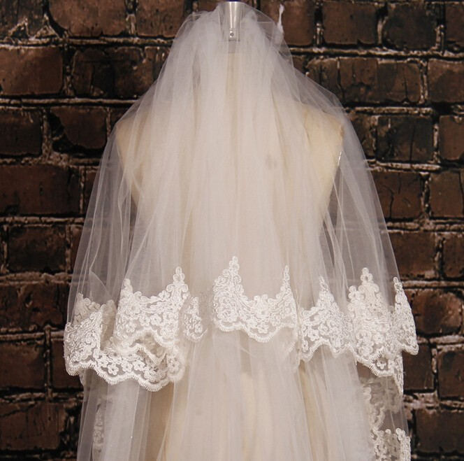 Image 3 - White Ivory 5M Long Embroidered Lace Applique Lace Wedding Veil Long Bridal Veil Wedding Accessories With Comb EE02-in Bridal Veils from Weddings & Events