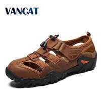 2019 New Summer Men's Shoes Outdoor Casual Shoes Sandals Genuine Leather Non slip Sneakers Men Beach Sandals Big Size 38 48