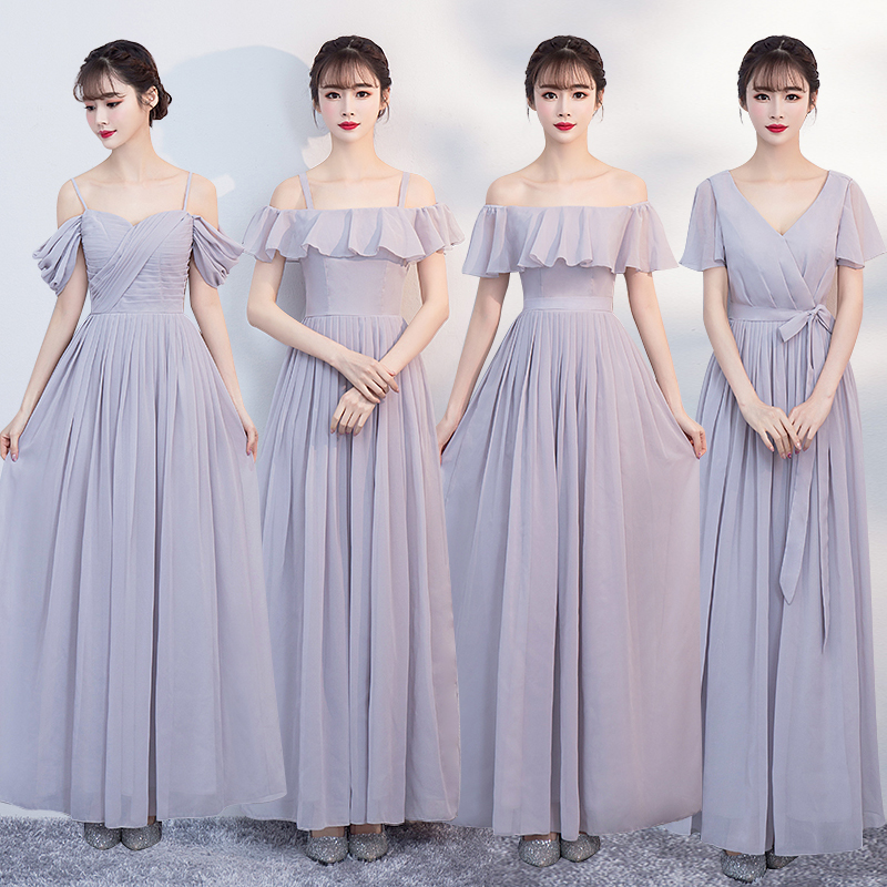 Elegant Chiffon Dress Blue Colour Long Bridesmaid Dresses 2019 for Women Party Formal Prom Dresses in Bridesmaid Dresses from Weddings Events