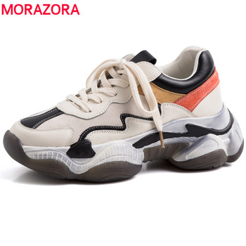 MORAZORA Size 35-41 Brand Genuine leather shoes women sneakers lace up spring summer platform shoes ladies casual shoes female
