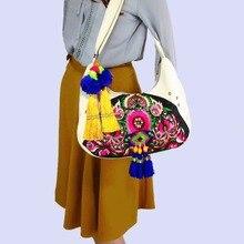 Multi-use Hmong Vintage Tribal Ethnic Thai Indian Boho shoulder bag messenger bag handmade, embroidery pom trim SYS-538