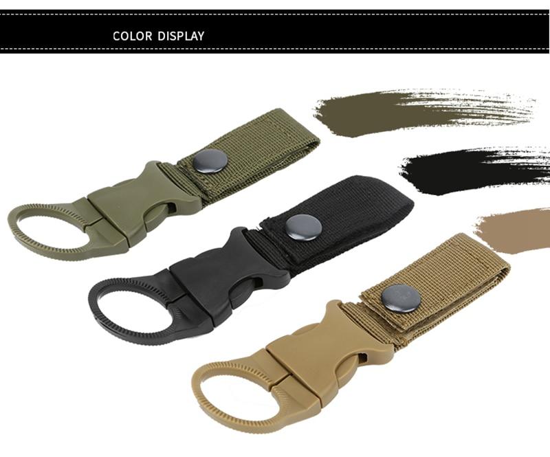 Outdoor military Nylon Webbing Buckle Hook Water Bottle Holder Clip EDC Climb Carabiner Belt Backpack Hanger Camp (13)