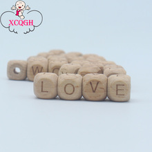 XCQGH 100Pcs Beech Wooden Beads 12mm Loose Beads Jewelry DIY Teething Toy Bracelet Wood Teether Alphabet Beads
