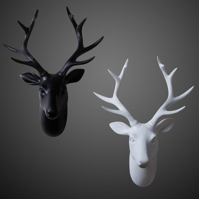 Nordic Style Series Of Black White Deer Hanging Animal Head Mural Wall Role Ofing Act