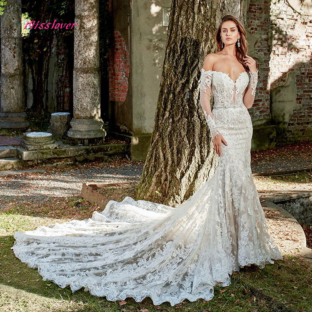 0efacf5248 Boat Neck Vestido De Noiva Luxury lace Embroidery Mermaid Bride Wedding  Dress 2019 new Bridal Gown Sexy backless Robe de mariee ~ Hot Deal July 2019