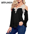 VESTLINDA Plus Size 4XL White Lace Blouses Sexy Female Vintage Top Chemise Femme Shirt Ladies Long Sleeve Big Size Women Clothes