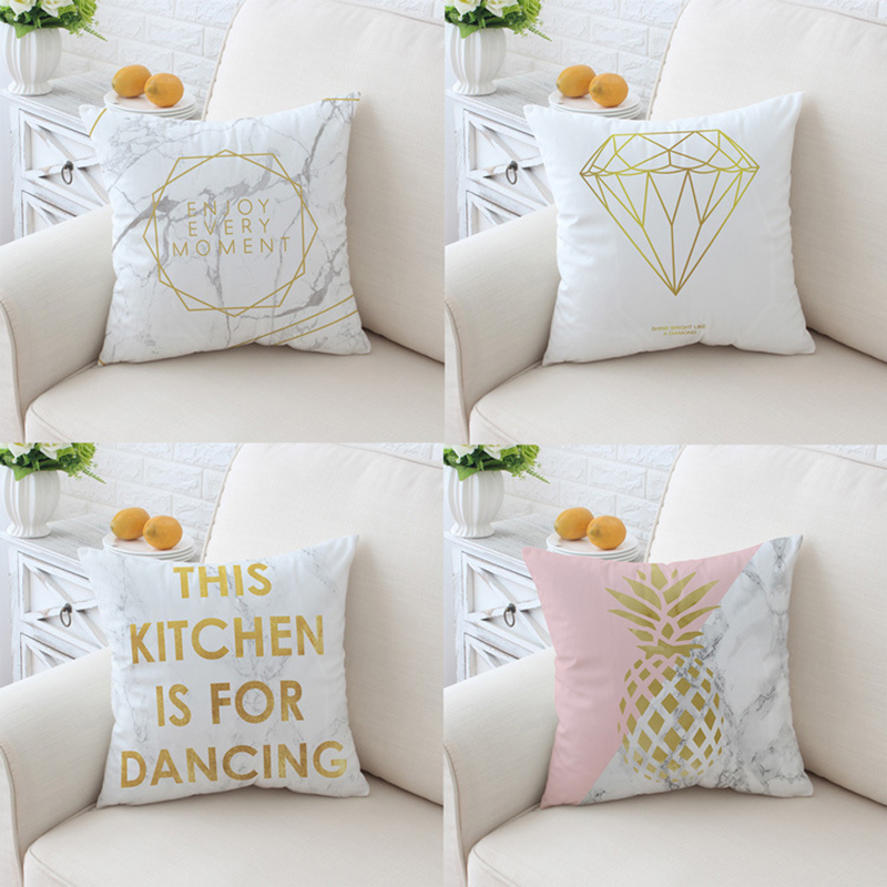GIGIZAZA Cushion Covers for Sofa Couch Home Decorative Throw Pillow Covers Cases Velvet pillowcases Square White Printing 45x45