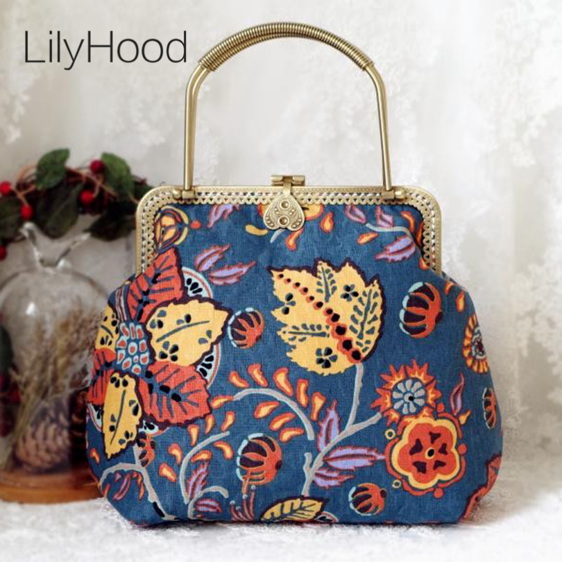 LilyHood Female Handmade Retro Flower Printing Handbag Summer Hippie Boho Bohemian Chic Tribal Ethnic Folk Blue Shoulder Bag chelsea verde hippie chic boho flowy poncho blouse shirt