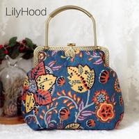 LilyHood Female Handmade Retro Flower Printing Handbag Summer Hippie Boho Bohemian Chic Tribal Ethnic Folk Blue Shoulder Bag