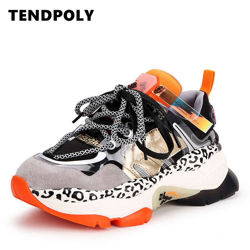 Casual Women Shoes 2019 Autumn The New Genuine Leather Sneakers Women Heighten 5.5 CM Heavy-bottomed Female Shoes Outdoor Shoes