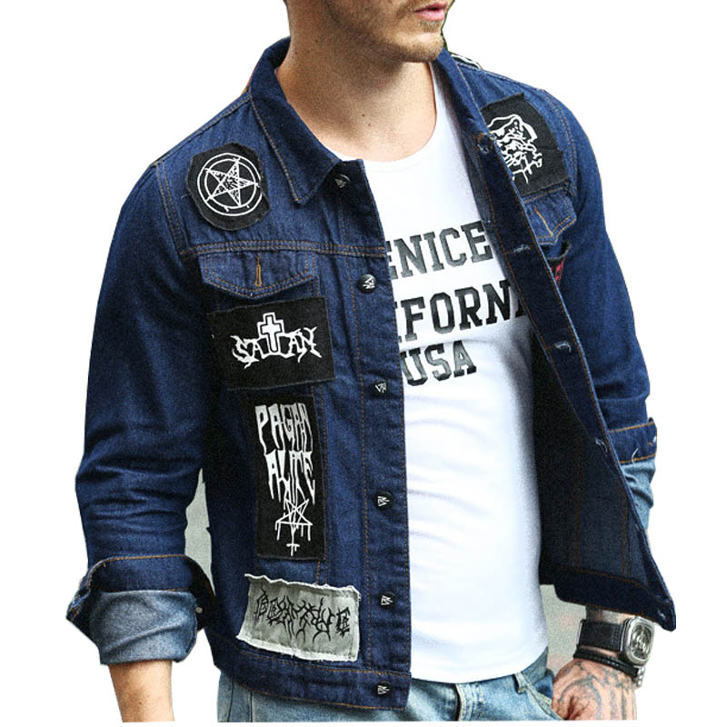Mcikkny Men's Cotton Denim Jacket Patchwork Turn-down Collar Jean Jacket Punk Style Patch Design Coat For Man Streetwear