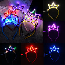LED Glow Light Tiara Crown Head wear Royal Princess Headband Flashing Hair Accessories For Child Adult Birthday Party navidad(China)