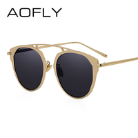 AOFLY Fashion Lady Cat Eye Sunglasses Brand Designer Metal Frame Sun Glasses Women Coating Mirror Shades