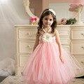 Princess tutu rubor florista tutú de flores vestidos de fiesta de cumpleaños de la vendimia longitud del tobillo del cordón de marfil floral muchacha de los tutúes