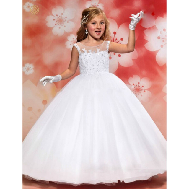F13 White Lace Flower Girl Dresses for Weddings 2016 Ball Gown Floor Length Pageant Dresses First Communion Dresses for Girls