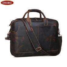 Men Leather Briefcase Retro Cowhide Business Handbag Fit For 15 Inch Laptop Bag Brown PR561019