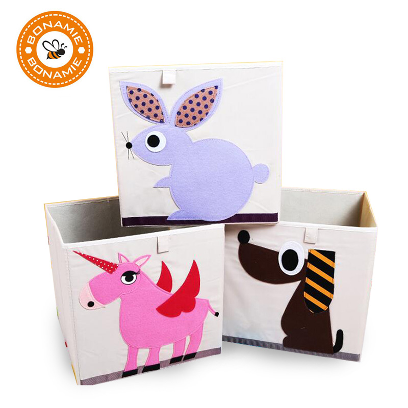 BONAMIE Travel Bag 3D Embroider Cartoon Animal Fold Storage Box Children Sundries Storag ...