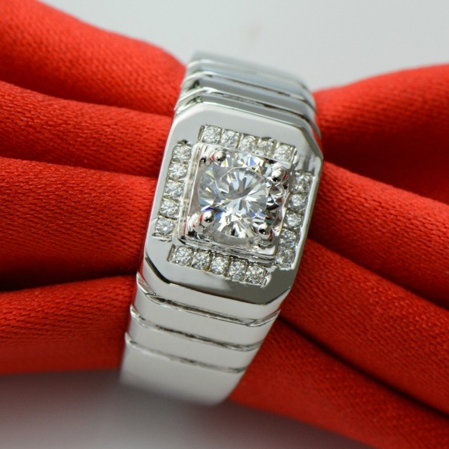 Free Shipping 0.5 CT Carat Wedding Engagement Simulated Diamond Ring Men 925 Sterling Silver Brithday Anniversary Love Gift