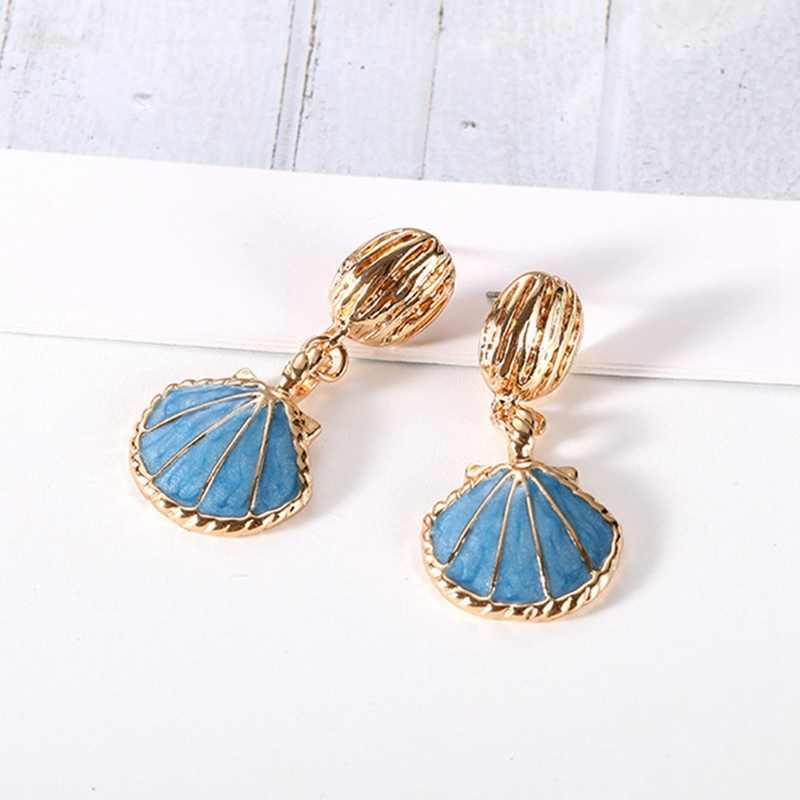 Новый голубой цвет защиты Винтаж океан Ветер Shell серьги красивые смолы морской