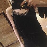 New Sexy Fashion Eyelash Lace V Neck Condole Belt Personality Women Girl Velvet Tanks All Purpose