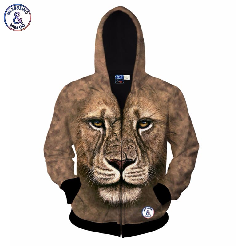 2017 Mr.1991INC Lion print 3d sweatshirt for men/women fashion autumn winter jacket 3d printing zipper hooded hoody hoodies