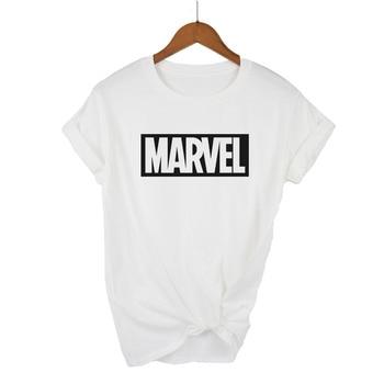 2018 Moda Harajuku Casual Camisetas Femininas Punk Rock MARVEL ts Algodão tumblr camiseta Casual Hipster Para Famale Top 1