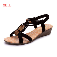 2019 Woman Sandals High Quality Women Shoes Sandals Summer Flip Flops Flat Sandals Women Gladiator Sandalias Mujer Bohemia Style lsewilly 2018 new summer women sandals bohemia shoes ladies wedge heels flip flops gladiator sandals beading women shoes s046