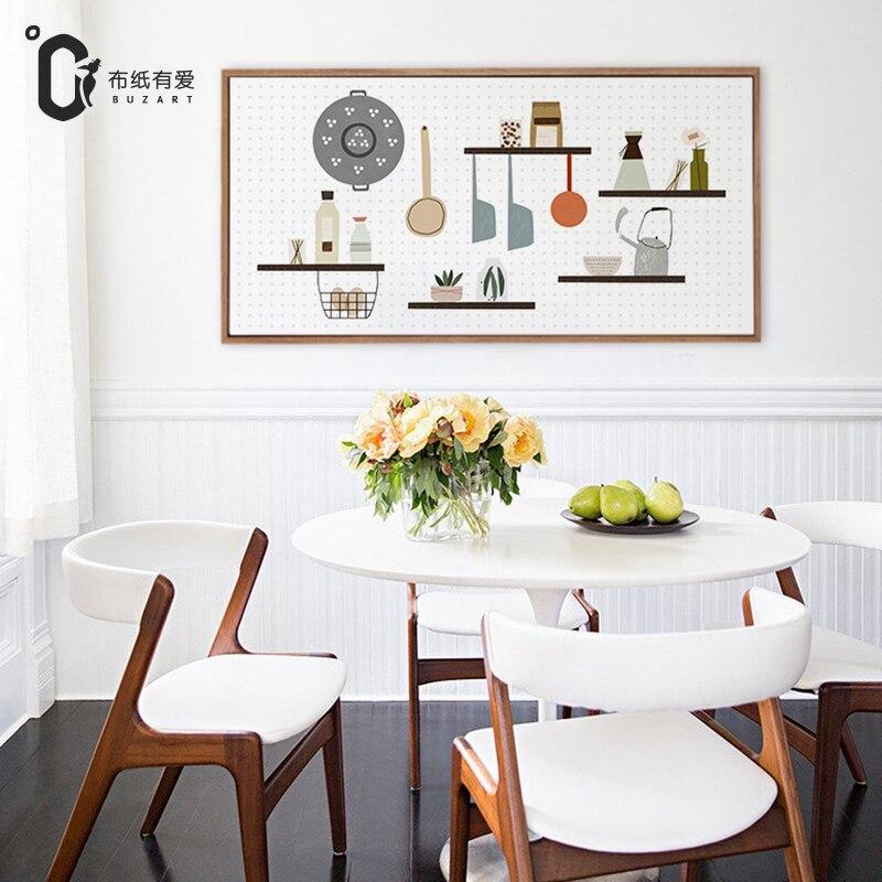 US $13.5 50% di SCONTO|Divertimento in cucina arredamento Nordico moderno  semplice creativo in bianco e nero murales No Frame-in Pittura e  calligrafia ...
